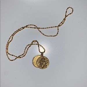 Gold virgin saints and angels coin necklace